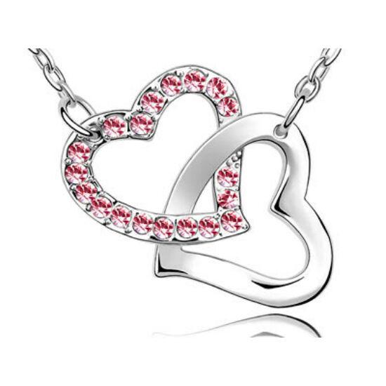 Swarovski kristályos dupla szives medál pink kővel