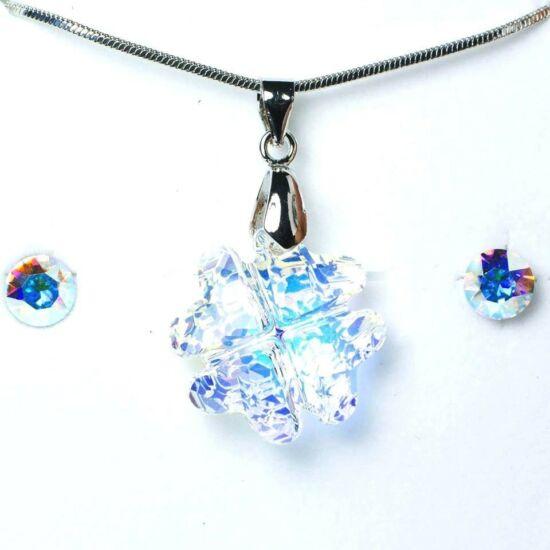 Swarovski kristályos ékszerszett - Lóhere 19 mm, Crystal AB + díszdoboz