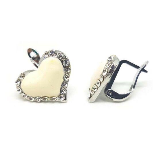 Swarovski kristályos fülbevaló fehér szívvel