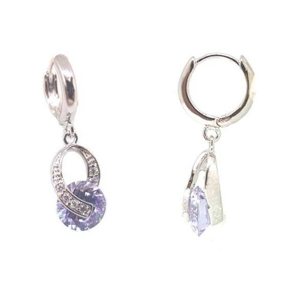 Swarovski kristályos fülbevaló, lila