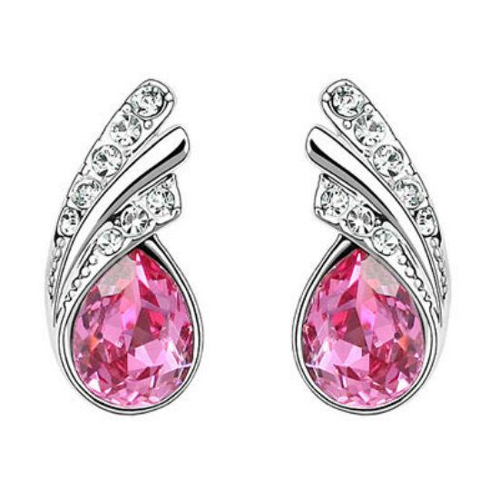 Swarovski kristályos fülbevaló Pink szinű kővel