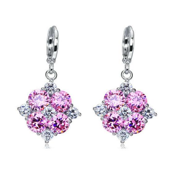 Swarovski kristályos fülbevaló, rózsaszín virág