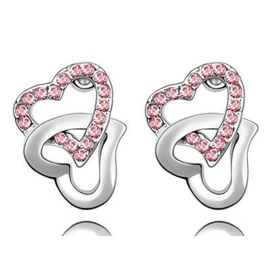 Swarovski kristályos fülbevaló Szívben Szív Rózsaszin