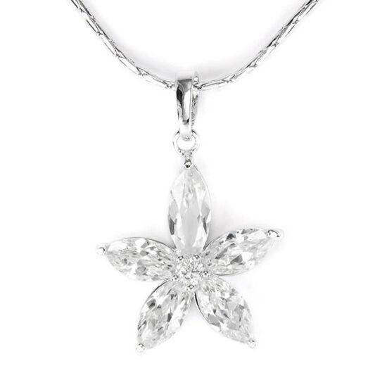 Swarovski kristályos nyaklánc 5 szirmú virág medállal