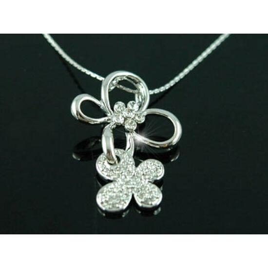 Swarovski kristályos nyaklánc :Dupla virág