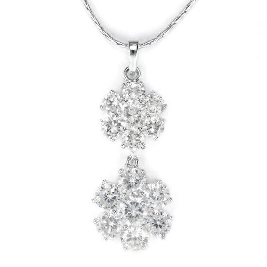 Swarovski kristályos nyaklánc dupla virágú medállal