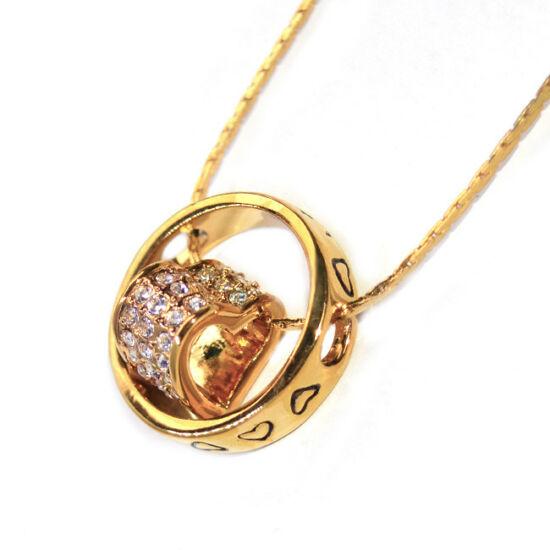 Swarovski kristályos nyaklánc Gyűrű szívvel