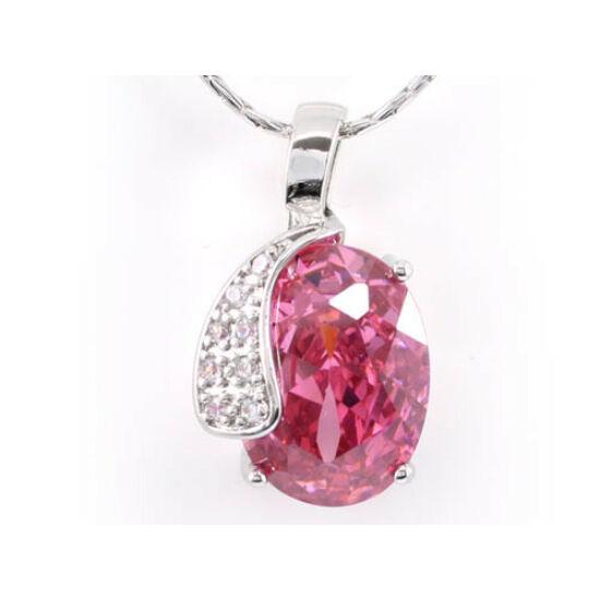 Swarovski kristályos nyaklánc hatalmas rózsaszin kővel