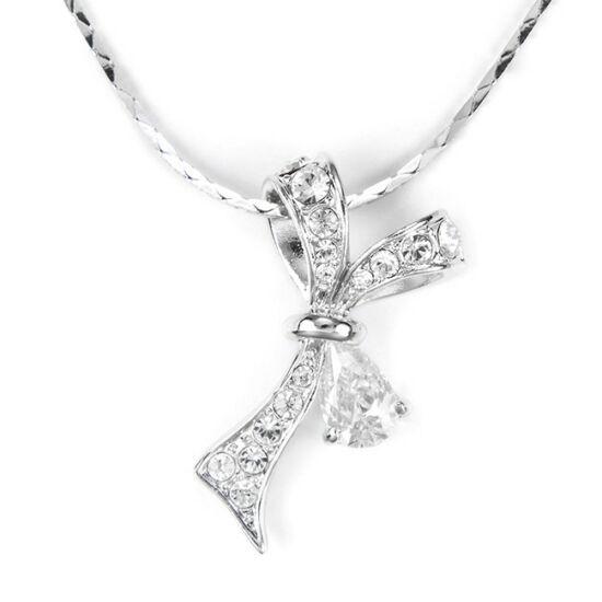 Swarovski kristályos nyaklánc kristályokkal kirakott masni medállal