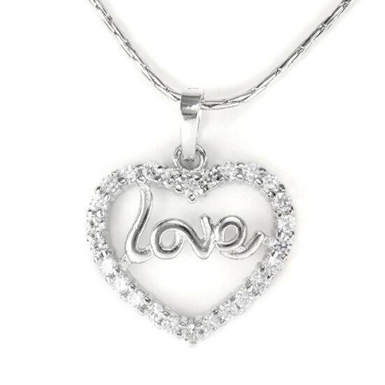 Swarovski kristályos nyaklánc Love feliratú medállal
