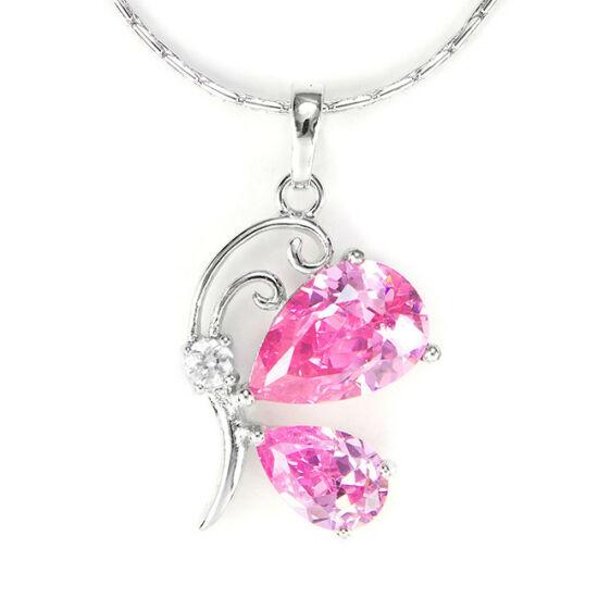 Swarovski kristályos nyaklánc rózsaszin pillangós medállal
