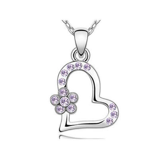 Swarovski kristályos nyaklánc szivecskés lila virágos medállal