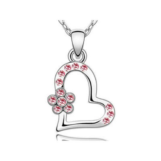 Swarovski kristályos nyaklánc szivecskés pink szinű virágos medállal