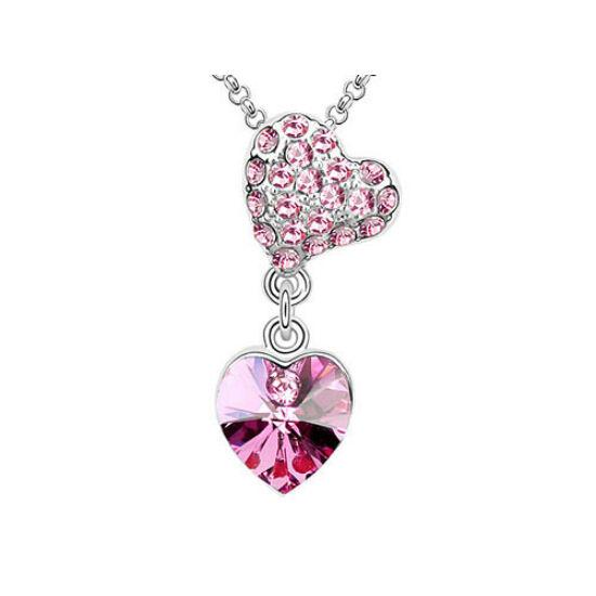 Swarovski kristályos nyaklánc sziven szív pink kővel