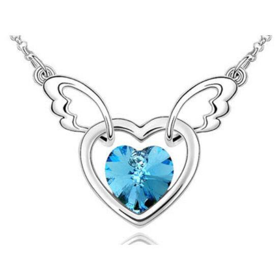Swarovski kristályos szárnyaló sziv medál kék ővel
