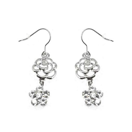Swarovski kristályos virágos lógós fülbevaló - ezüst