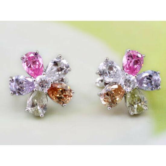 Swarovski Szines kristályos Virágos  fülbevaló