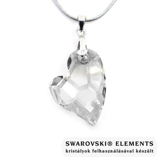 Swarovski® crystal kristályos nemesacél nyaklánc - 27 mm - Ferde szív - Crystal