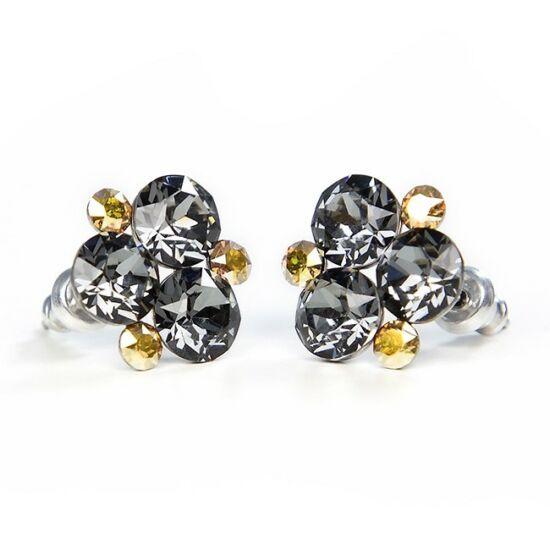 SWAROVSKI® kristályokkal díszített nemesacél fülbevaló - Silver Night & Golden Shadow