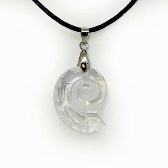 Swarovski® kristályos bőr nyaklánc - 28 mm - Csiga - Crystal