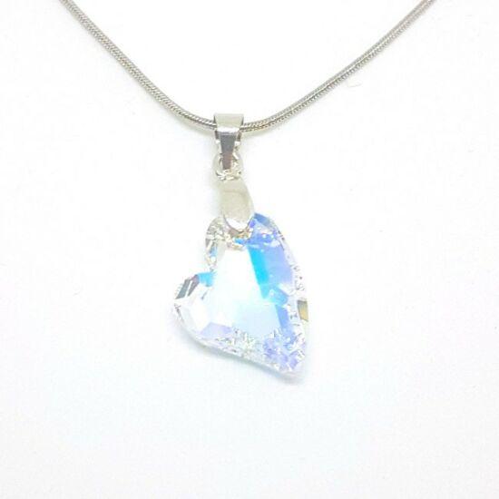 Swarovski® kristályos ezüst nyaklánc - 17 mm - Ferde szív - Crystal AB - 925 ezüst ékszer