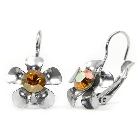 Swarovski® kristályos, fém virágos nemesacél fülbevaló - Sunflower