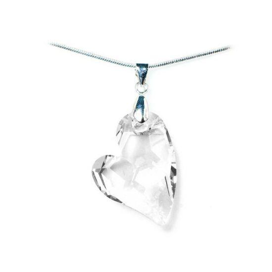 Swarovski® kristályos nemesacél nyaklánc - 27 mm - Ferde szív - Crystal