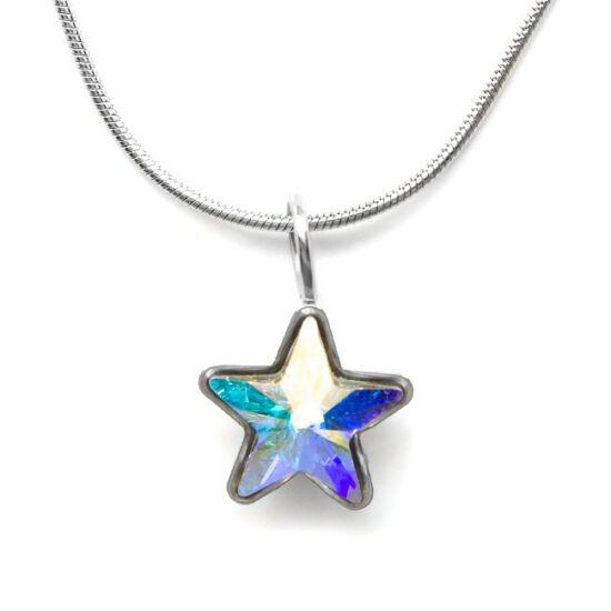 Swarovski® kristályos nemesacél nyaklánc - apró csillagos, Crystal AB