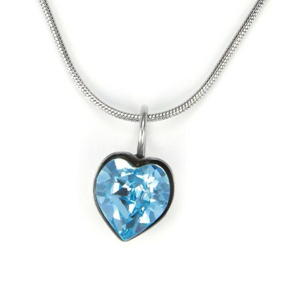 Swarovski® kristályos nemesacél nyaklánc - apró szíves, Light Sapphire