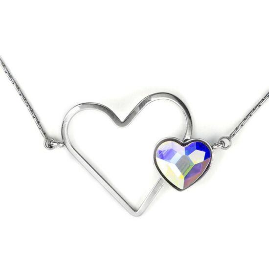 Swarovski® kristályos nemesacél nyaklánc - dupla szíves, Crystal AB