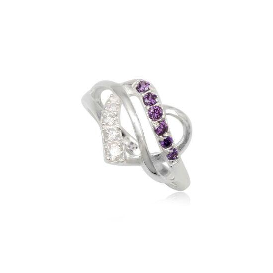 Szív alakú ezüst gyűrű lila cirkónia kristállyal-6