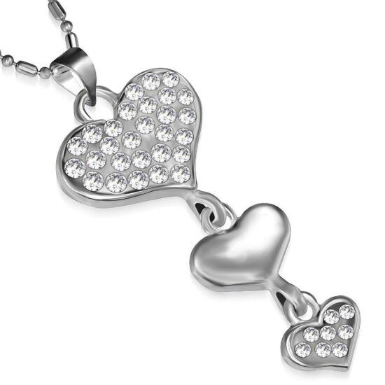 Szív alakú, fehér kristállyal ékesített női nyaklánc