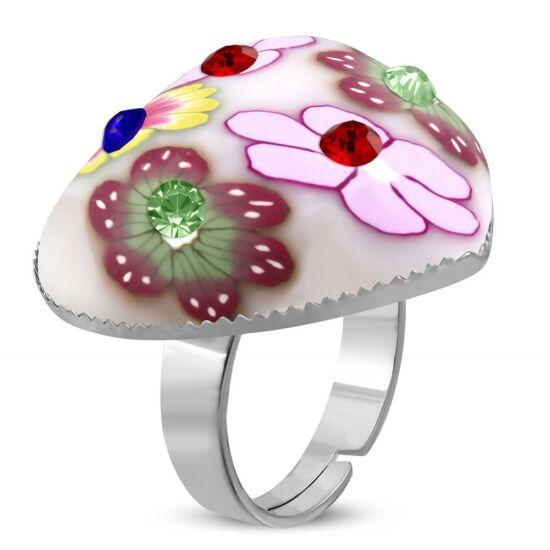 Szív alakú, rózsaszín virág mintás állítható nemesacél gyűrű ékszer cirkónia kristállyal