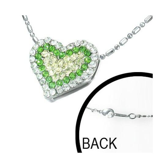 Szív alakú, zöld kristállyal ékesített női nyaklánc