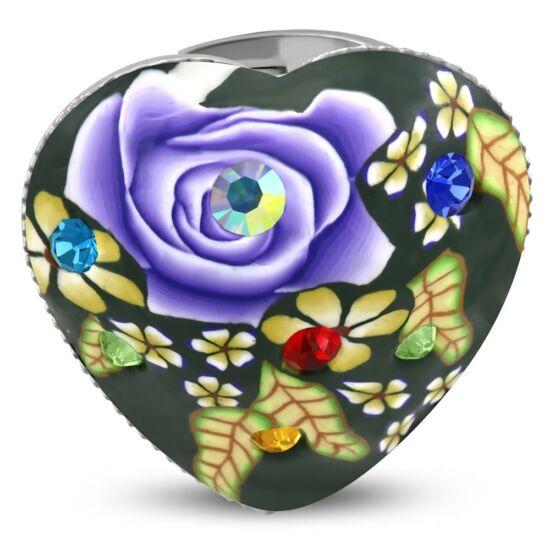 Szív formájú, virág mintás állítható nemesacél gyűrű ékszer cirkónia kristállyal