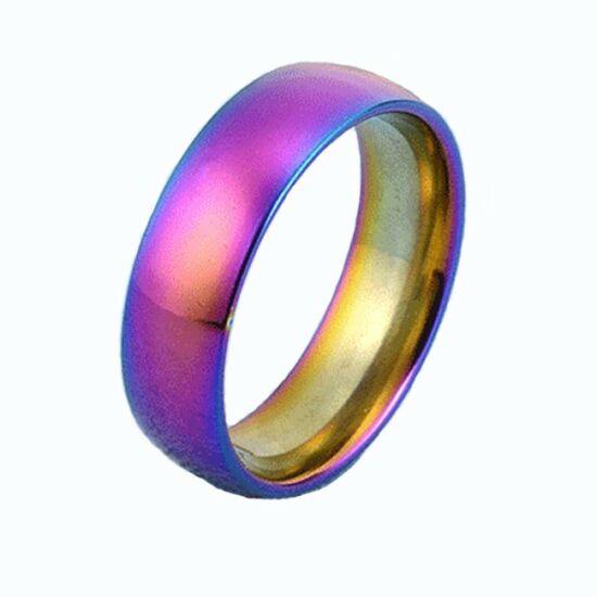 Szivárvány színű nemesacél gyűrű ékszer