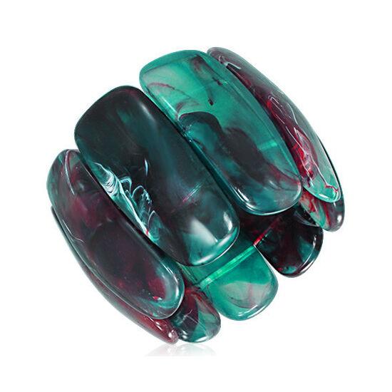 Türkiz - lila színű, rugalmas akril karkötő