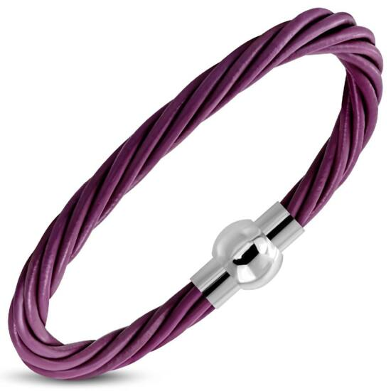 Világos lila színű bőr karkötő ékszer, mágneses nemesacél zárral