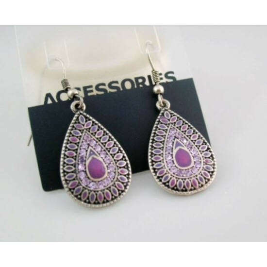 Vintage fülbevaló (lila színű, közepes méretű)