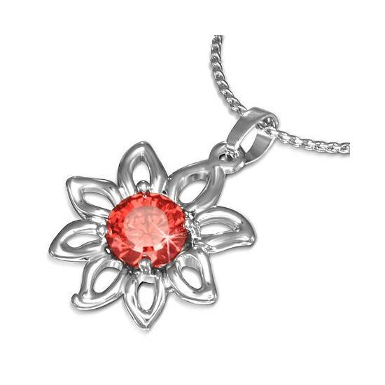 Virág alakú, cirkónia kristályos divat nyaklánc