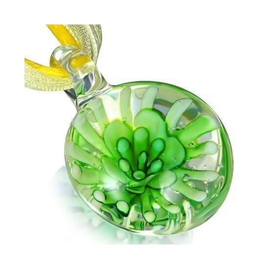 Virágmintás üveg nyaklánc - Kövirózsa