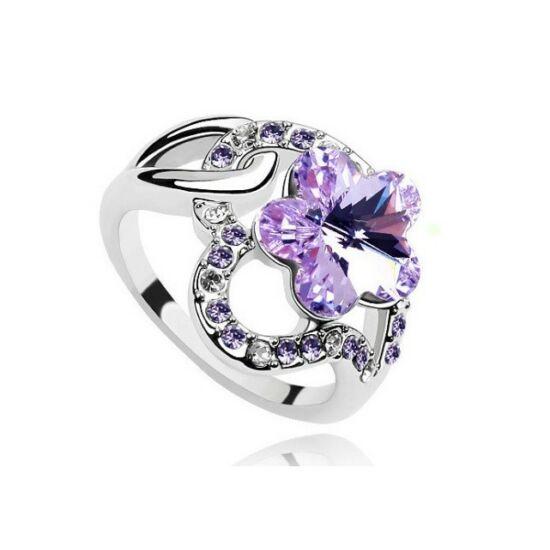 Virágos Swarovski kristályos gyűrű