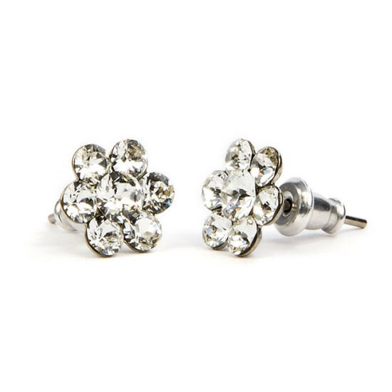 Virágos Swarovski kristályos nemesacél fülbevaló - Crystal