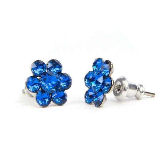 Virágos Swarovski kristályos nemesacél fülbevaló - Kék