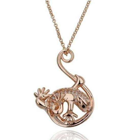 Vörös arany - Aranyozott gekkó nyaklánc és medál