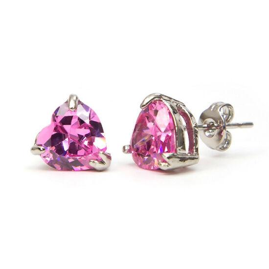 Yasmin Swarovski kristályos szív alakú fülbevaló - Rózsaszin