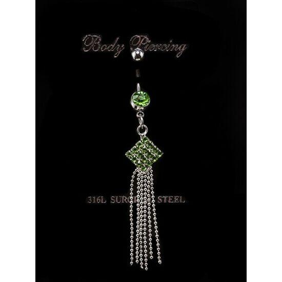 Zöld kristályos nemesacél piercing