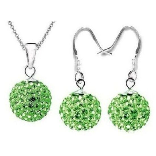 Zöld shamballa kristályos ékszer szett - II. osztályú termék