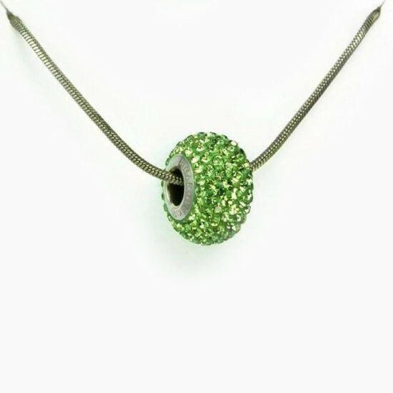Zöld Swarovski® kristályos nyaklánc - Pavé Beads 14 mm, Peridot + Díszdoboz