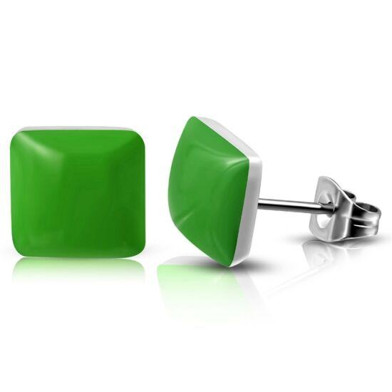 Zöld színű négyzet alakú nemesacél fülbevaló ékszer